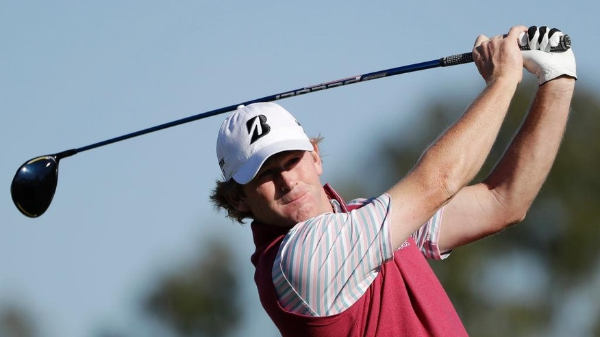 Brandt Snedeker watches his tee shot on the second hole of the South Course during the third round of the Farmers Insurance Open golf tournament Saturday, Jan. 28, 2017, at Torrey Pines Golf Course in San Diego. (AP Photo/Gregory Bull)