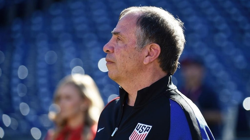 United States head coach Bruce Arena looks on from the sidelines during a friendly soccer match against Serbia Sunday, Jan. 29, 2017 in San Diego. (AP Photo/Denis Poroy)