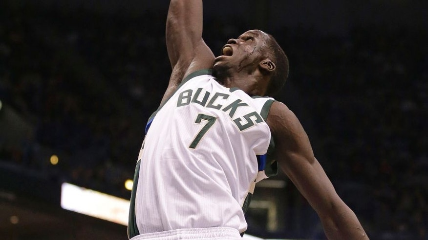 Milwaukee Bucks' Thon Maker goes up for a rebound against the Boston Celtics during the second half of an NBA basketball game Saturday, Jan. 28, 2017, in Milwaukee. (AP Photo/Jeffrey Phelps)