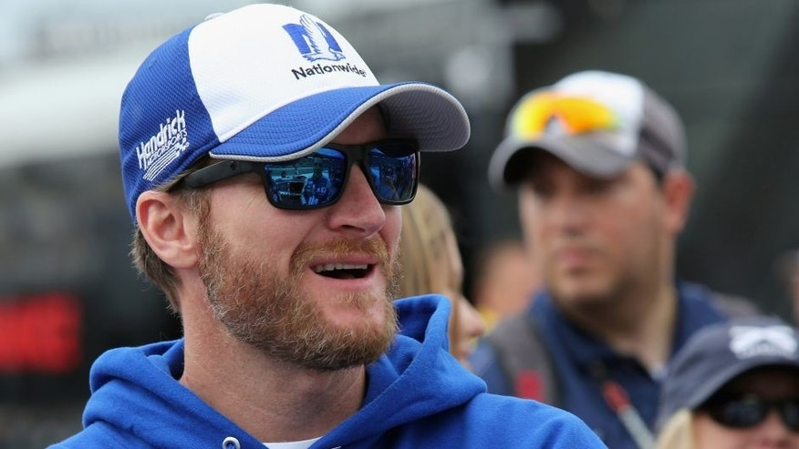 FORT WORTH, TX - NOVEMBER 06: Dale Earnhardt Jr. stands on the grid prior to the NASCAR Sprint Cup Series AAA Texas 500 at Texas Motor Speedway on November 6, 2016 in Fort Worth, Texas. (Photo by Jerry Markland/Getty Images)