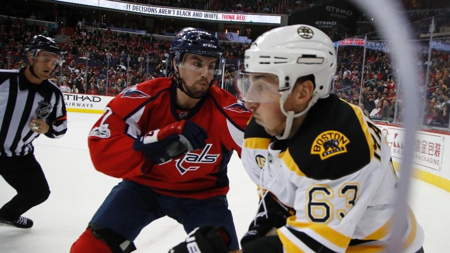 Washington Capitals defenseman Matt Niskanen (2), checks into the board Boston Bruins left wing Brad Marchand (63) during the first period of an NHL hockey game in Washington, Wednesday, Feb. 1, 2017. (AP Photo/Manuel Balce Ceneta)