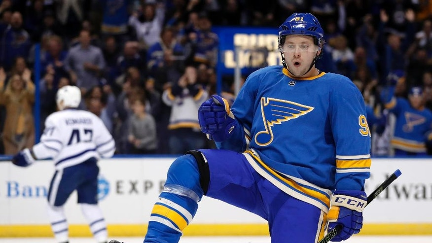 St. Louis Blues' Vladimir Tarasenko, of Russia, celebrates after scoring during the second period of the team's NHL hockey game against the Toronto Maple Leafs on Thursday, Feb. 2, 2017, in St. Louis. (AP Photo/Jeff Roberson)