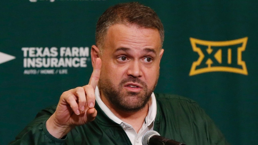 In this Feb. 1, 2017 file photo, Baylor head football coach Matt Rhule talks with reporters at a NCAA college news conference during national signing day in Waco, Texas.