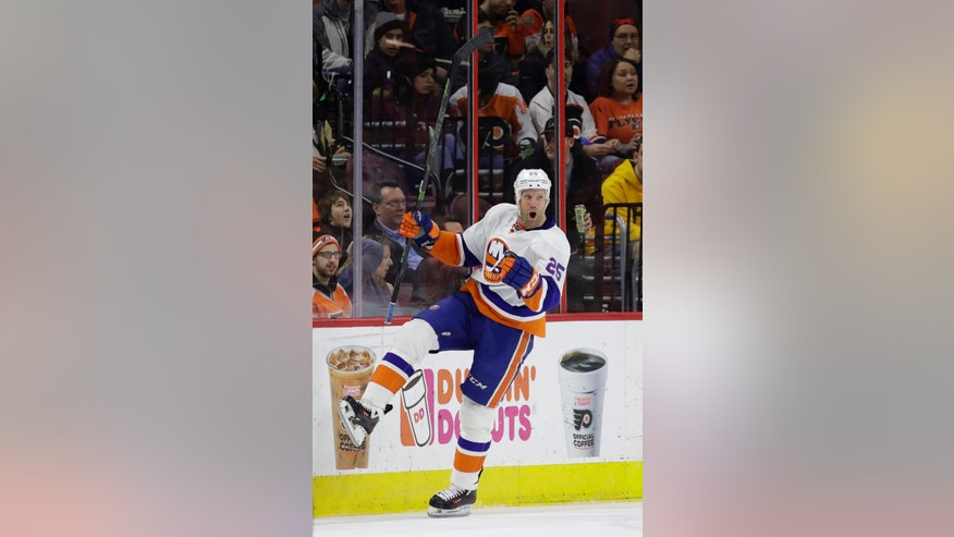New York Islanders' Jason Chimera celebrates after scoring a goal during the second period of an NHL hockey game against the Philadelphia Flyers, Thursday, Feb. 9, 2017, in Philadelphia. (AP Photo/Matt Slocum)