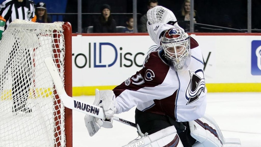 Colorado Avalanche goalie Calvin Pickard (31) reacts to a puck shot past him for a goal by New York Islanders' Ryan Strome during the second period of an NHL hockey game Sunday, Feb. 12, 2017, in New York. (AP Photo/Frank Franklin II)