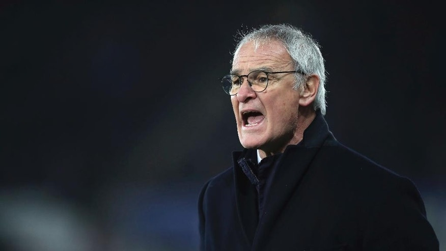 Leicester City manager Claudio Ranieri offers advice from the sideline during the English Premier League match Swansea against Leicester at the Liberty Stadium, Swansea, Wales, Sunday Feb. 12, 2017. (Nick Potts/PA via AP)
