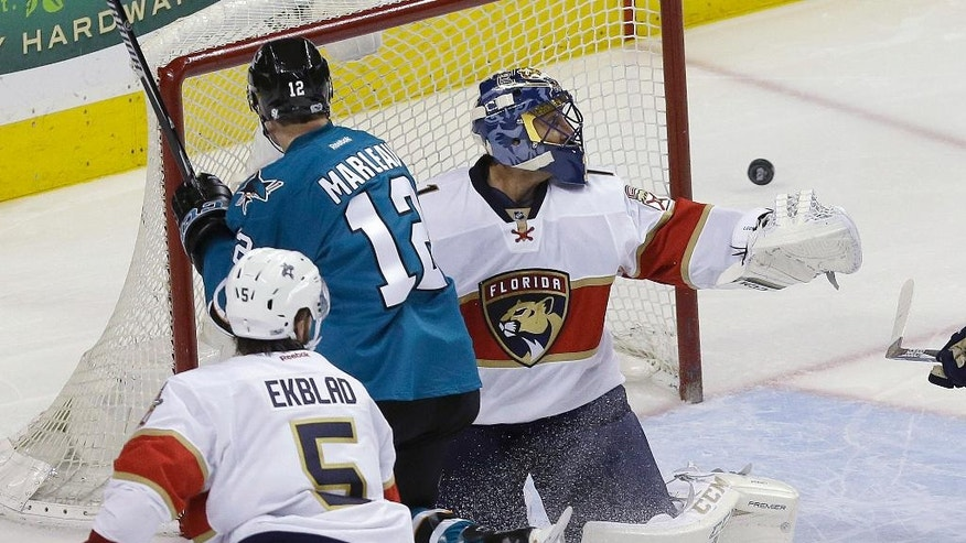 Florida Panthers goalie Roberto Luongo, right, defends a shot attempt by San Jose Sharks center Patrick Marleau (12) during the second period of an NHL hockey game in San Jose, Calif., Wednesday, Feb. 15, 2017. (AP Photo/Jeff Chiu)