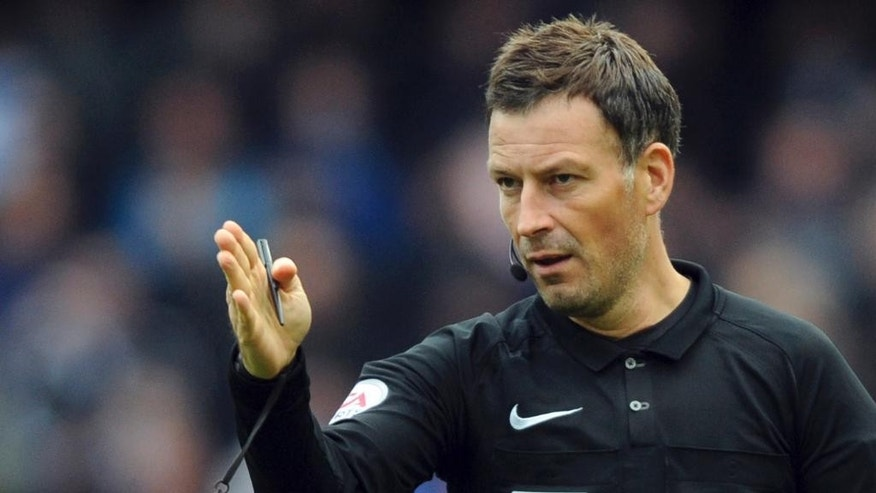 FILE - This is a Sunday, Oct. 23, 2016  file photo of English referee Mark Clattenburg during the English Premier League soccer match between Manchester City and Southampton at the Etihad Stadium in Manchester, England. Clattenburg, who refereed the top games in world soccer in 2016, is quitting the Premier League for a job in Saudi Arabia. The English refereeing organization announced Thursday Feb. 16, 2017 that Clattenburg's departure in a statement which didn't specify the role he will take in the Middle East nation. (AP Photo/Rui Vieira, File)
