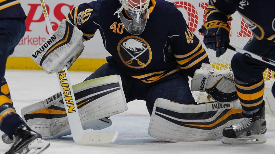 Buffalo Sabres goalie Robin Lehner (40) watches the puck during the second period of an NHL hockey game against the Colorado Avalanche, Thursday, Feb. 16, 2017, in Buffalo, N.Y. (AP Photo/Jeffrey T. Barnes)