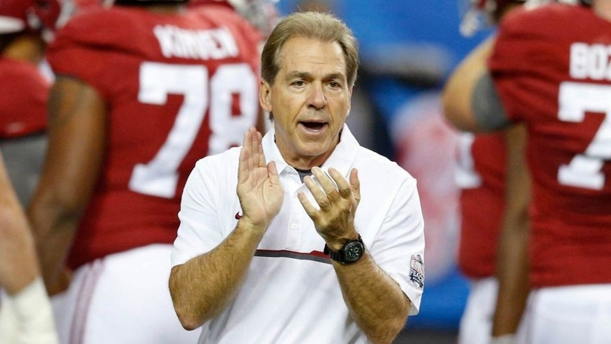 Dec 31, 2016; Atlanta, GA, USA; Alabama Crimson Tide head coach Nick Saban during warm-ups before the 2016 CFP Semifinal against the Washington Huskies at the Georgia Dome. Alabama defeated Washington 24-7. Mandatory Credit: Jason Getz-USA TODAY Sports
