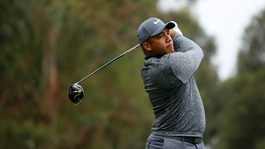 Jhonattan Vegas, of Venezuela, tees off on the ninth hole during the second round of the Genesis Open golf tournament at Riviera Country Club Friday, Feb. 17, 2017, in the Pacific Palisades area of Los Angeles. (AP Photo/Ryan Kang)