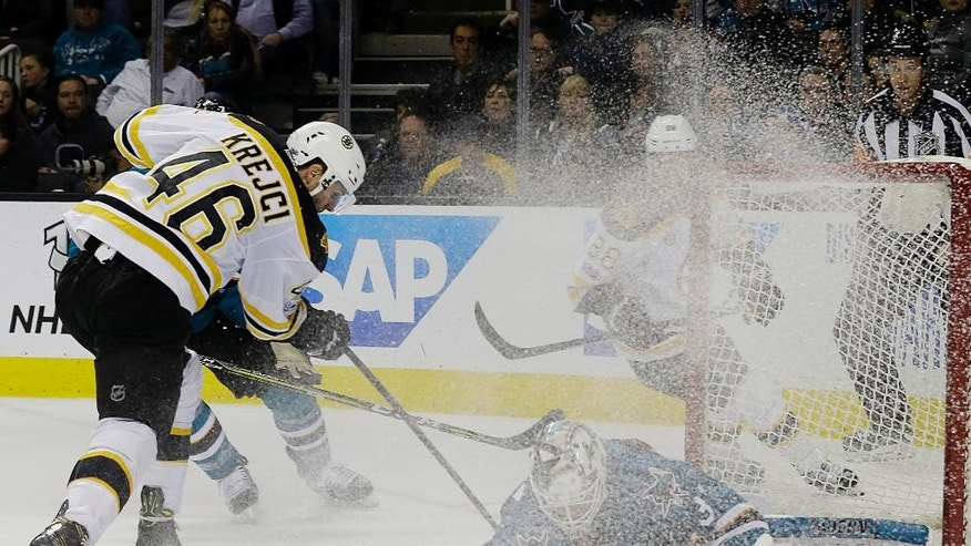 San Jose Sharks goalie Martin Jones, bottom, defends a shot by Boston Bruins center David Krejci (46), from the Czech Republic, during the second period of an NHL hockey game in San Jose, Calif., Sunday, Feb. 19, 2017. (AP Photo/Jeff Chiu)