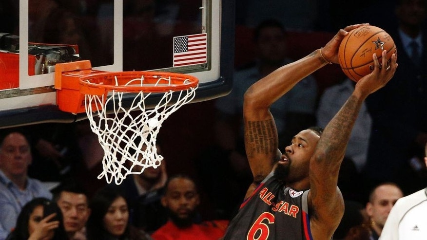 Feb 19, 2017; New Orleans, LA, USA; Western Conference center DeAndre Jordan of the Los Angeles Clippers (6) dunks in the 2017 NBA All-Star Game at Smoothie King Center. Mandatory Credit: Derick E. Hingle-USA TODAY Sports