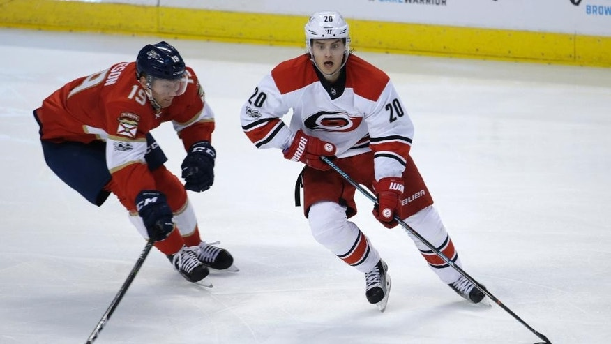 Florida Panthers' Michael Matheson (19) and Carolina Hurricanes' Sebastian Aho (20) go for the puck during the second period of an NHL hockey game, Tuesday, Feb. 28, 2017, in Sunrise, Fla. (AP Photo/Lynne Sladky)