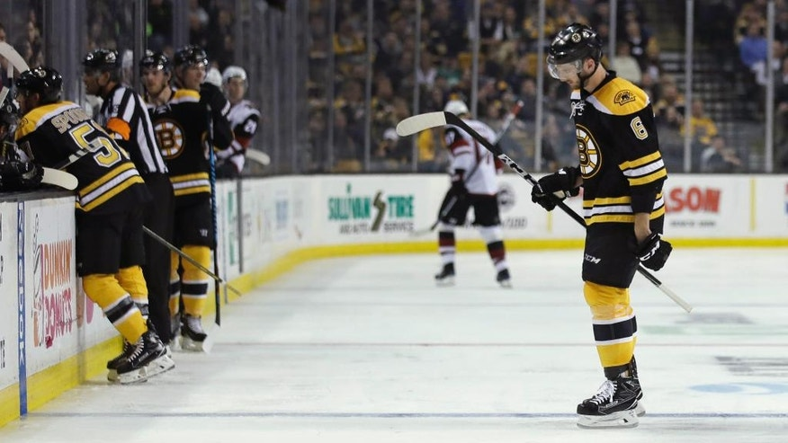 Boston Bruins defenseman Colin Miller (6) heads to the locker room after being called for a charging penalty during the second period of the team's NHL hockey game against the Phoenix Coyotes in Boston, Tuesday, Feb. 28, 2017. Miller received a game misconduct and a five-minute major penalty on the charge. (AP Photo/Charles Krupa)