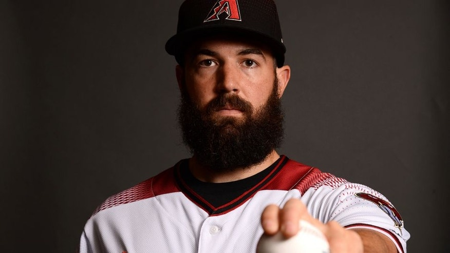 Feb 21, 2017; Scottsdale, AZ, USA; Arizona Diamondbacks starting pitcher Robbie Ray (38) poses for a photo during Spring Training Media Day at Salt River Fields at Talking Stick. Mandatory Credit: Joe Camporeale-USA TODAY Sports