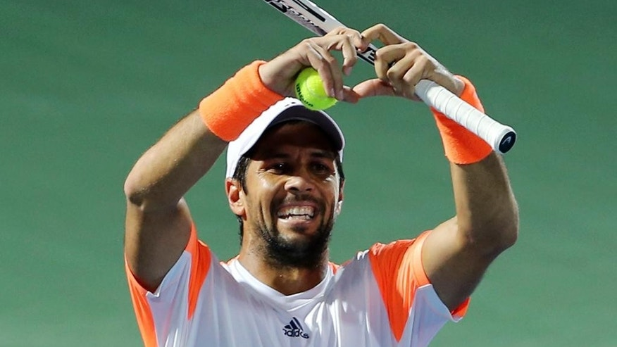 Fernando Verdasco of Spain celebrates after he beats Gael Monfils of France during a quarter final match of the Dubai Tennis Championships, in Dubai, United Arab Emirates, Thursday, March 2, 2017. (AP Photo/Kamran Jebreili)