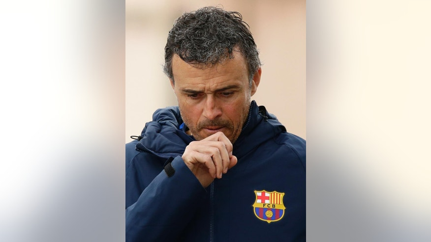 FC Barcelona's coach Luis Enrique gestures during a press conference at the Sports Center FC Barcelona Joan Gamper in Sant Joan Despi, Spain, Friday, March 3, 2017. Enrique will leave the Spanish champions at the end of this season. The coach made the surprise announcement following the team's 6-1 win over Sporting Gijon in the Spanish league on Wednesday March 1, 2017. (AP Photo/Manu Fernandez)