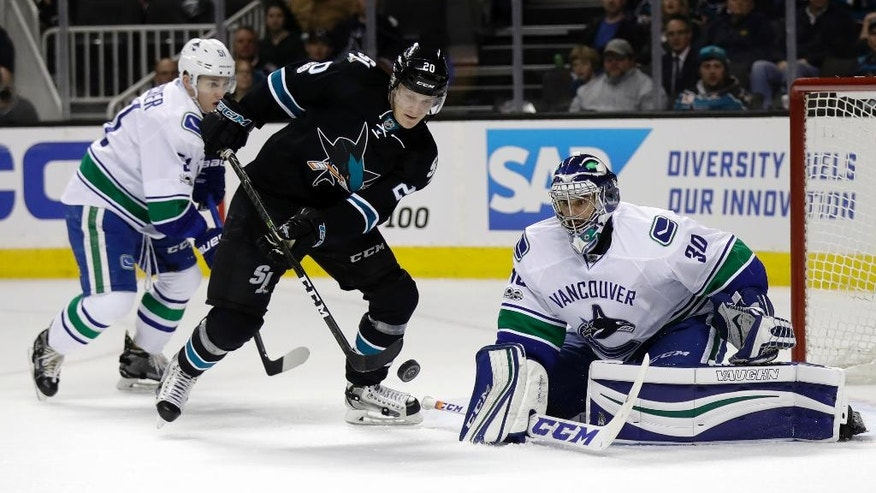 San Jose Sharks' Marcus Sorensen (20) eyes the puck next to Vancouver Canucks goalie Ryan Miller during the first period of an NHL hockey game Thursday, March 2, 2017, in San Jose, Calif. San Jose won 3-1. (AP Photo/Marcio Jose Sanchez)