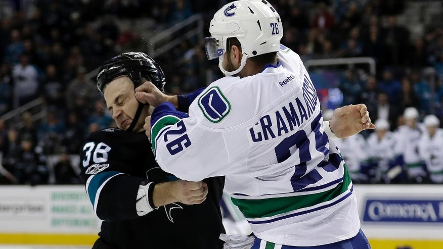 Vancouver Canucks' Joseph Cramarossa, right, fights with San Jose Sharks' Micheal Haley during the first period of an NHL hockey game Thursday, March 2, 2017, in San Jose, Calif. (AP Photo/Marcio Jose Sanchez)
