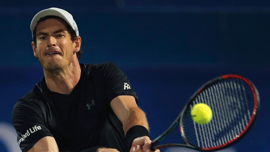 Andy Murray of Great Britain returns the ball to Fernando Verdasco of Spain during the final match of the Dubai Tennis Championships, in Dubai, United Arab Emirates, Saturday, March 4, 2017. (AP Photo/Kamran Jebreili)