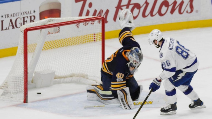 Tampa Bay Lightning forward Nikita Kucherov (86) scores on Buffalo Sabres goalie Robin Lehner (40) during the shootout in an NHL hockey game, Saturday, March 4, 2017, in Buffalo, N.Y. (AP Photo/Jeffrey T. Barnes)