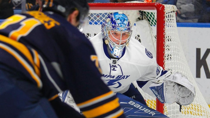 Tampa Bay Lightning goalie Andrei Vasilevskiy (88) watches the puck during the first period of the team's NHL hockey game against the Buffalo Sabres, Saturday, March. 4, 2017, in Buffalo, N.Y. (AP Photo/Jeffrey T. Barnes)