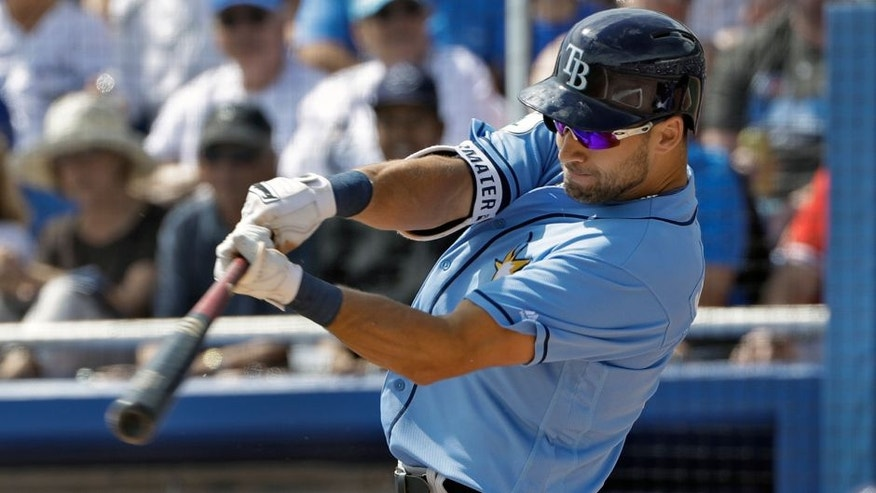 Tampa Bay Rays' Kevin Kiermaier connects for a double off Toronto Blue Jays starting pitcher Marcus Stroman during the first inning of a spring training baseball game Sunday, March 5, 2017, in Dunedin, Fla. (AP Photo/Chris O'Meara)