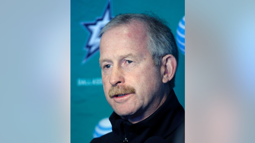This Sept. 19, 2014 file photo shows Dallas Stars General Manager Jim Nill responding to questions from reporters after a team morning workout on opening day of NHL hockey training camp in Fort Worth, Texas. NHL general managers expected to talk about video review and concussion protocol for goaltenders at their annual March meeting. Coach's challenges for offside and goaltender interference will be on the docket at the GMs meeting in Boca Raton, Florida, this week. (AP Photo/Tony Gutierrez, file)