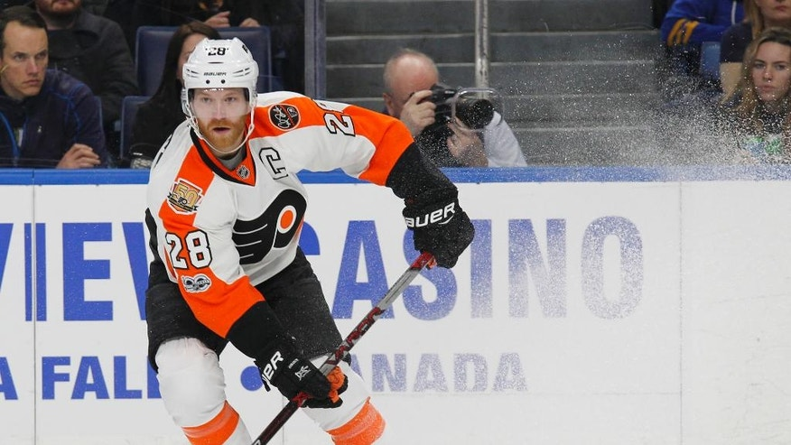 Philadelphia Flyers forward Claude Giroux (28) skates during the second period of an NHL hockey game against the Buffalo Sabres, Tuesday, March 7, 2017, in Buffalo, N.Y. (AP Photo/Jeffrey T. Barnes)