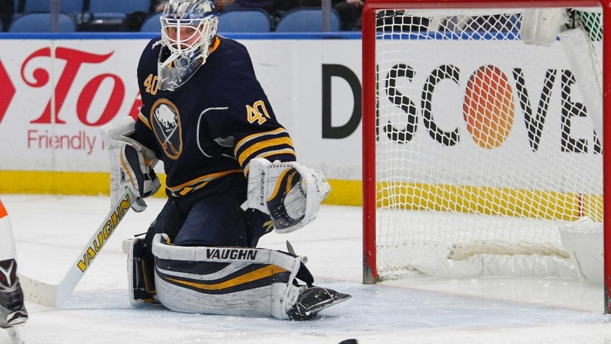 Buffalo Sabres goalie Robin Lehner (40) makes a save during the second period of an NHL hockey game against the Philadelphia Flyers, Tuesday, March 7, 2017, in Buffalo, N.Y. (AP Photo/Jeffrey T. Barnes)
