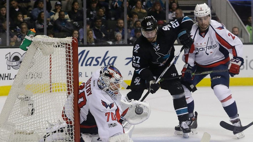 Washington Capitals goalie Braden Holtby (70) defends on a San Jose Sharks shot during the second period of an NHL hockey game in San Jose, Calif., Thursday, March 9, 2017. (AP Photo/Jeff Chiu)