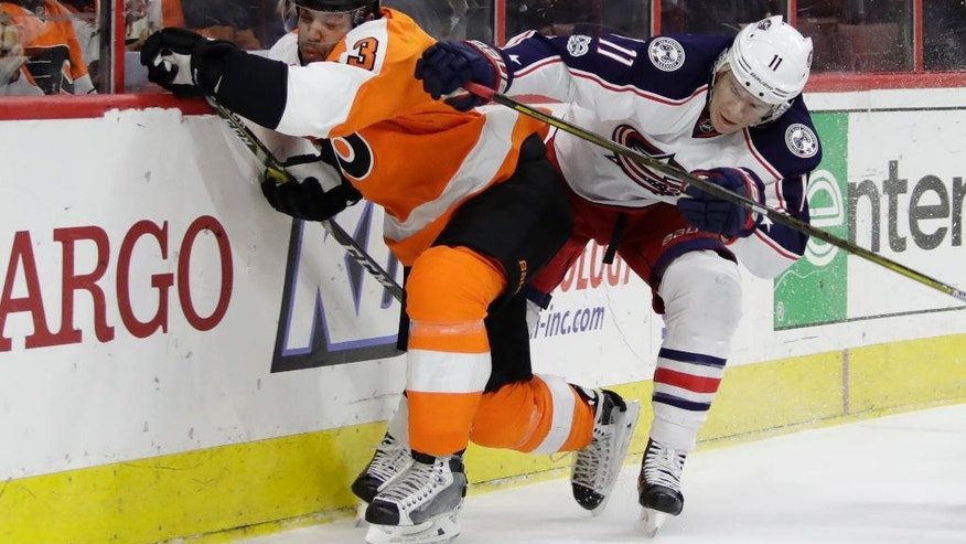 Columbus Blue Jackets' Matt Calvert, right, collides with Philadelphia Flyers' Radko Gudas during the first period of an NHL hockey game, Monday, March 13, 2017, in Philadelphia. (AP Photo/Matt Slocum)