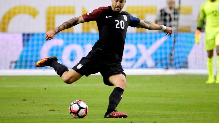 FILE - In this June 25, 2016 file photo shows United States defender Geoff Cameron (20) plays the ball during the Copa America Centenario third-place soccer match against Colombia at University of Phoenix Stadium in Glendale, Ariz. Cameron was selected for the U.S. roster by coach Bruce Arena on Wednesday, March 15, 2017, for the team's World Cup qualifiers against Honduras and Panama. (AP Photo/Matt York, File)
