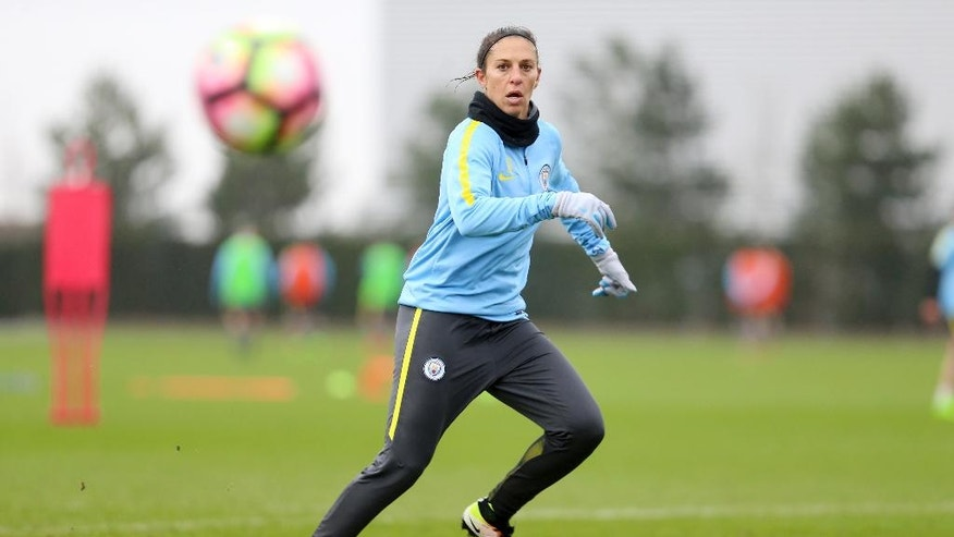 Manchester City's new signing for their women's team Carli Lloyd from the US runs during a training session in Manchester England Tuesday March 14, 2017. Carli Lloyd's eyes light up when she talks about the opportunities that have opened up through her short-term move to Manchester City. Two days in and she has already been dazzled by the lavish soccer facility where she'll train, play and spend much of her time in England the $300 million, 80-acre City Football Academy.  (Tom Flathers via AP)
