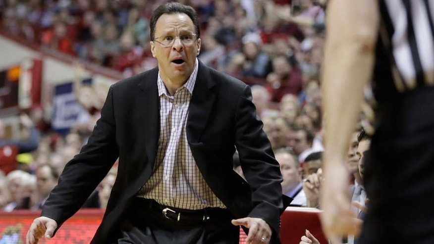 Indiana head coach Tom Crean reacts to a charging foul by Indiana's Robert Johnson during the second half of an NCAA college basketball game against Michigan, Sunday, Feb. 12, 2017, in Bloomington, Ind. (AP Photo/Darron Cummings)