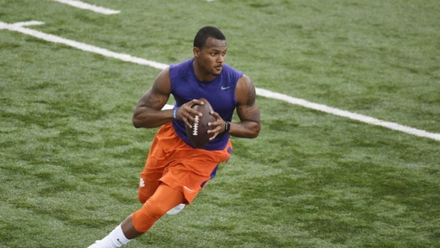 Deshawn Watson runs a drill during football pro day at Clemson University, Thursday, March 16, 2017, in Clemson, S.C. (AP Photo/Rainier Ehrhardt)