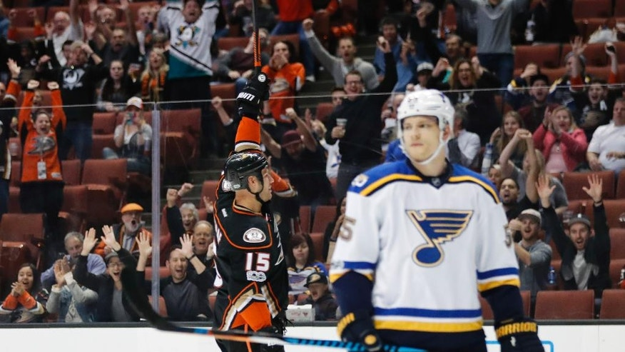 Anaheim Ducks' Ryan Getzlaf celebrates his goal as St. Louis Blues' Colton Parayko, foreground, stands near the net during the second period of an NHL hockey game Wednesday, March 15, 2017, in Anaheim, Calif. (AP Photo/Jae C. Hong)
