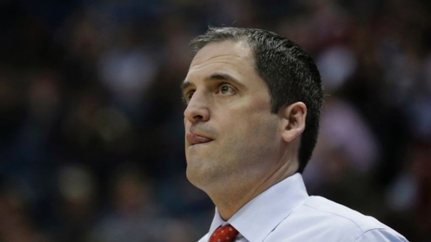 Iowa State head coach Steve Prohm watches during the first half of an NCAA college basketball tournament first-round game against Nevada Thursday, March 16, 2017, in Milwaukee. (AP Photo/Morry Gash)