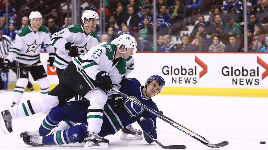 Vancouver Canucks' Nikita Tryamkin (88) plays for the puck against Dallas Stars' Esa Linkell (23) during the second period of an NHL hockey game Thursday, March 16, 2017, in Vancouver, British Columbia. (Ben Nelms/The Canadian Press via AP)