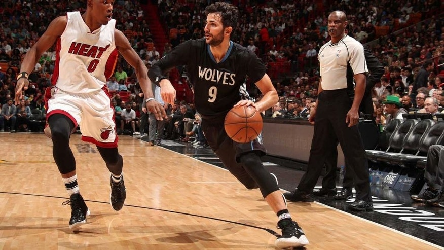 MIAMI, FL - MARCH 17: Ricky Rubio #9 of the Minnesota Timberwolves handles the ball against the Miami Heat on March 17, 2017 at American Airlines Arena in Miami, Florida. NOTE TO USER: User expressly acknowledges and agrees that, by downloading and or using this Photograph, user is consenting to the terms and conditions of the Getty Images License Agreement. Mandatory Copyright Notice: Copyright 2017 NBAE (Photo by Issac Baldizon/NBAE via Getty Images)