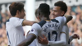 Tottenham Hotspur's Dele Alli, right, celebrates with teammates after scoring during the English Premier League soccer match between Tottenham Hotspur and Southampton at White Hart Lane stadium in London, Sunday, March 19, 2017.(AP Photo/Frank Augstein)