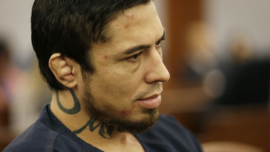 Jonathan Paul Koppenhaver, also known as War Machine, appears in court for a preliminary hearing Friday, Nov. 14, 2014, in Las Vegas. Koppenhaver is accused of assaulting his former girlfriend Christine Mackinday, also known as Christy Mack.(AP Photo/John Locher)