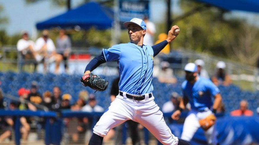 Tampa Bay Rays starting pitcher Blake Snell throws during the first inning against the Pittsburgh Pirates in a spring training baseball game in Port Charlotte, Fla., Monday, March 20, 2017. (Will Vragovic/The Tampa Bay Times via AP)
