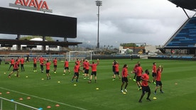 The U.S. men's soccer team works out at Avaya Stadium, Tuesday, March 21, 2017, in San Jose, Calif. The team is preparing for Friday's World Cup qualifier against Honduras at the stadium, home of the MLS San Jose Earthquakes, before the Americans play at Panama four days later. (AP Photo/Janie McCauley)