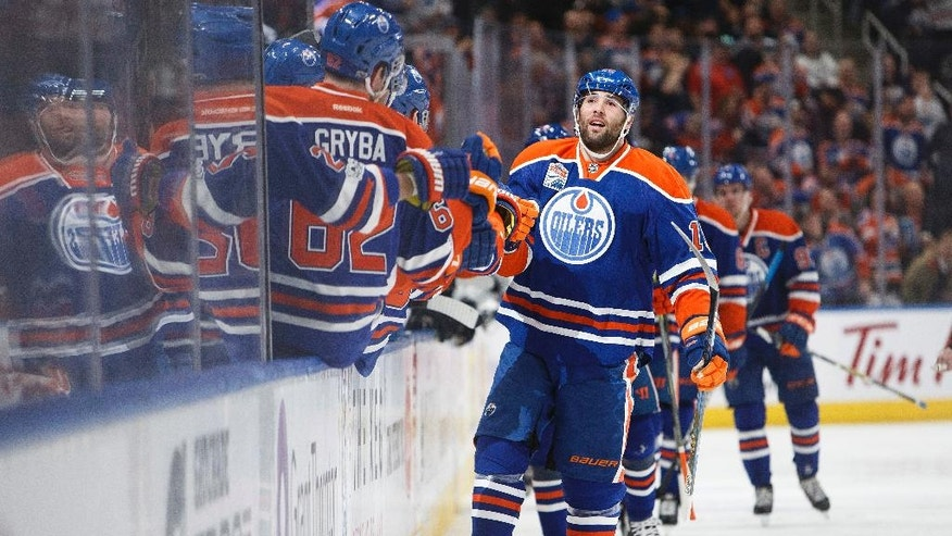 Edmonton Oilers' Patrick Maroon (19) celebrates a goal against the Los Angeles Kings during the first period of an NHL hockey game Monday, March 20, 2017, Edmonton, Alberta. (Codie McLachlan/The Canadian Press via AP)