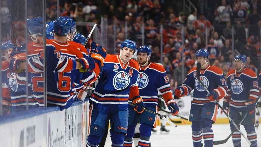 Edmonton Oilers' Milan Lucic (27) celebrates a goal against the Los Angeles Kings during the first period of an NHL hockey game Monday, March 20, 2017, Edmonton, Alberta. (Codie McLachlan/The Canadian Press via AP)