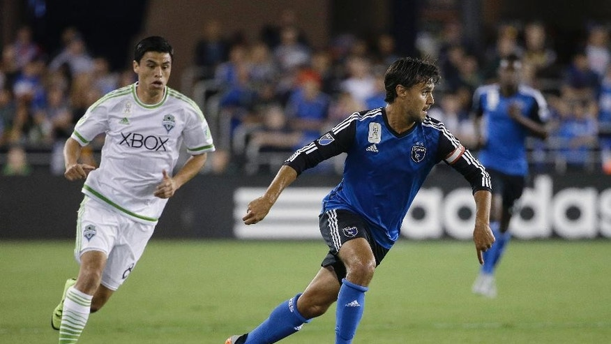 FILE - In this Sept. 12, 2015, file photo, San Jose Earthquakes forward Chris Wondolowski, right, dribbles against the Seattle Sounders during the first half of an MLS soccer match in San Jose, Calif. Wondolowski didn't have to travel far when he got the call up to the U.S. national team ahead of two key World Cup qualifiers. The U.S. will be playing Honduras on Wondolowski's home field for the San Jose Earthquakes on Friday night, March 24, as the Americans look to bounce back from an 0-2 start in the final round of qualifying in the North and Central American and Caribbean region's final round. (AP Photo/Jeff Chiu, File)
