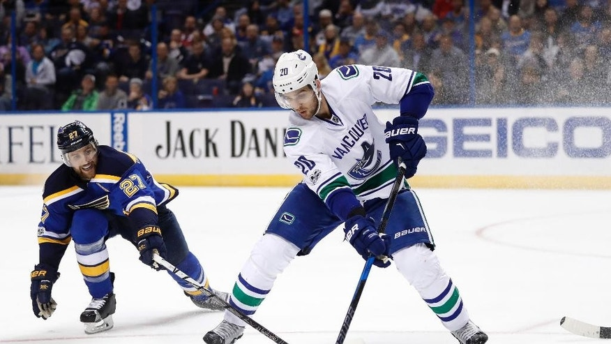 Vancouver Canucks' Brandon Sutter (20) controls the puck as St. Louis Blues' Alex Pietrangelo defends during the third period of an NHL hockey game Thursday, March 23, 2017, in St. Louis. The Blues won 4-1. (AP Photo/Jeff Roberson)