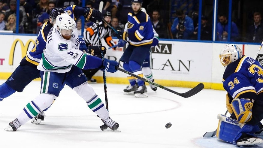 Vancouver Canucks' Jack Skille, left, shoots wide of St. Louis Blues goalie Jake Allen during the third period of an NHL hockey game Thursday, March 23, 2017, in St. Louis. The Blues won 4-1. (AP Photo/Jeff Roberson)